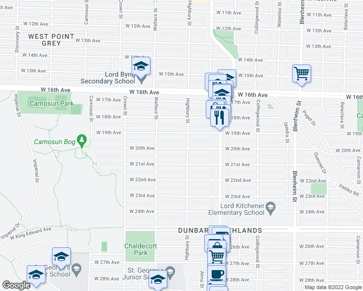 map of restaurants, bars, coffee shops, grocery stores, and more near 3815 West 20th Avenue in Vancouver