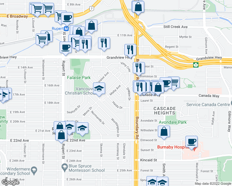 map of restaurants, bars, coffee shops, grocery stores, and more near 22 Malta Place in Vancouver