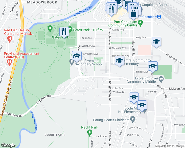 map of restaurants, bars, coffee shops, grocery stores, and more near 2109 Rowland Street in Port Coquitlam