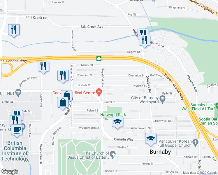 map of restaurants, bars, coffee shops, grocery stores, and more near 5238 Norfolk Street in Burnaby