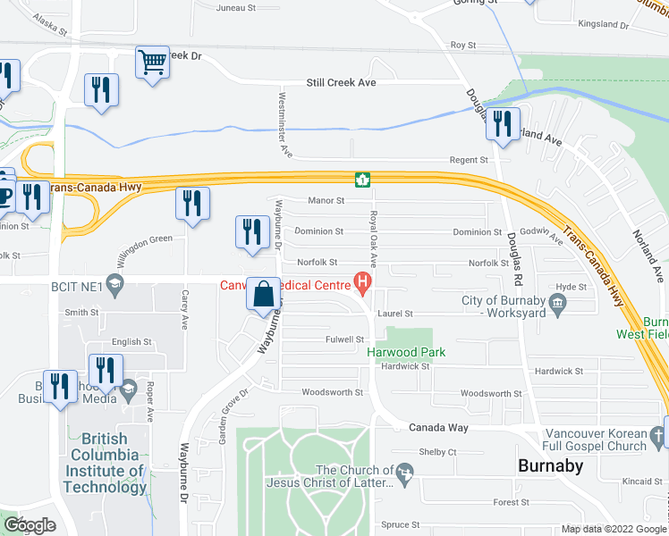 map of restaurants, bars, coffee shops, grocery stores, and more near 5078 Norfolk Street in Burnaby