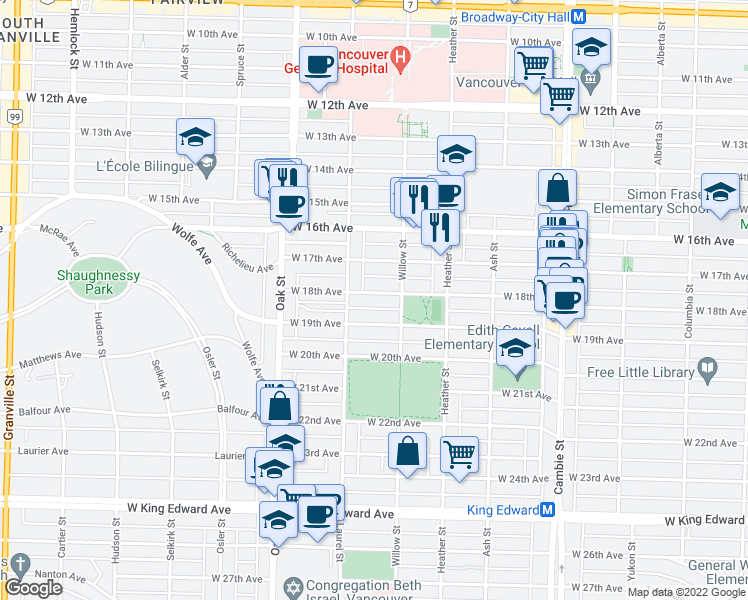 map of restaurants, bars, coffee shops, grocery stores, and more near 852 West 18th Avenue in Vancouver