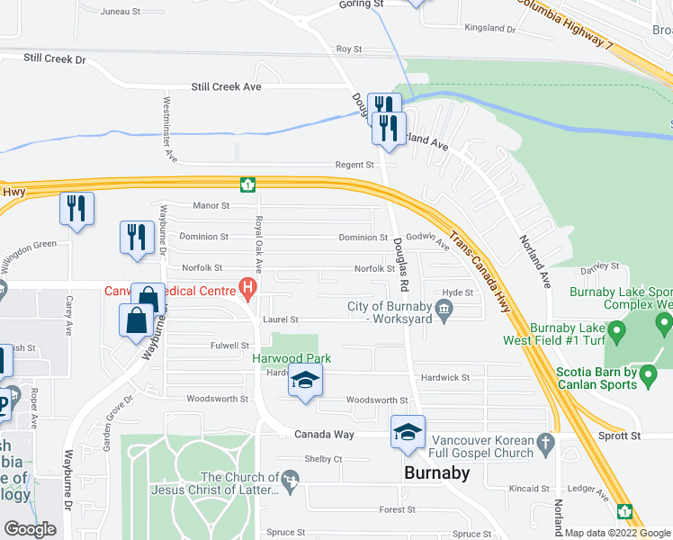 map of restaurants, bars, coffee shops, grocery stores, and more near 5369 Norfolk St in Burnaby
