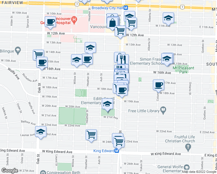 map of restaurants, bars, coffee shops, grocery stores, and more near 575 West 18th Avenue in Vancouver