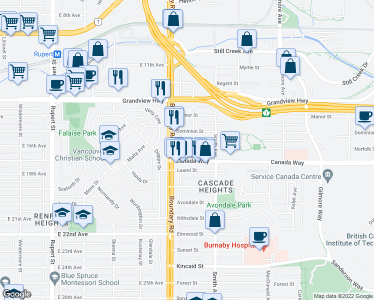 map of restaurants, bars, coffee shops, grocery stores, and more near 3738 Norfolk Street in Burnaby
