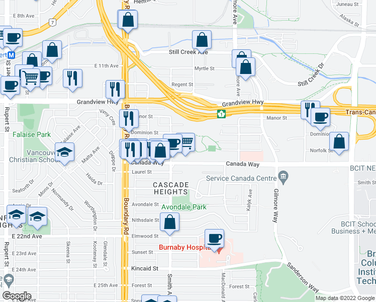 map of restaurants, bars, coffee shops, grocery stores, and more near 3888 Norfolk Street in Burnaby