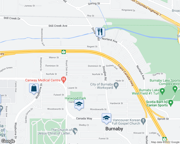 map of restaurants, bars, coffee shops, grocery stores, and more near 5449 Norfolk Street in Burnaby