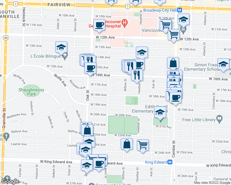 map of restaurants, bars, coffee shops, grocery stores, and more near 865 West 18th Avenue in Vancouver