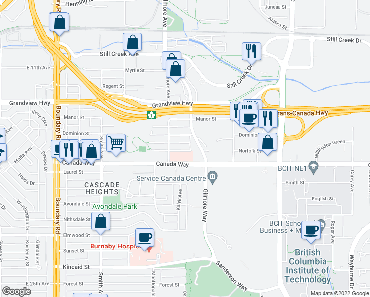 map of restaurants, bars, coffee shops, grocery stores, and more near 4181 Norfolk Street in Burnaby