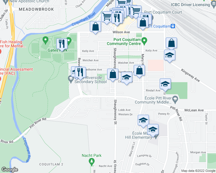 map of restaurants, bars, coffee shops, grocery stores, and more near 2345 Rindall Avenue in Port Coquitlam