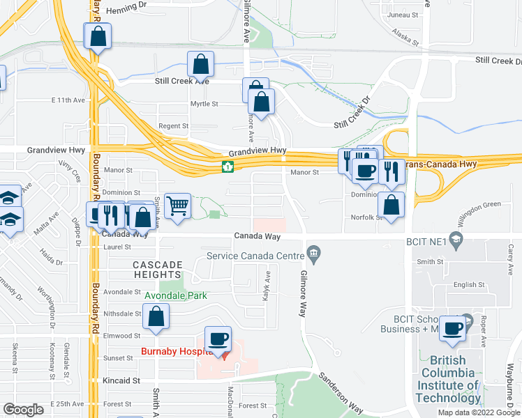 map of restaurants, bars, coffee shops, grocery stores, and more near 4125 Norfolk Street in Burnaby