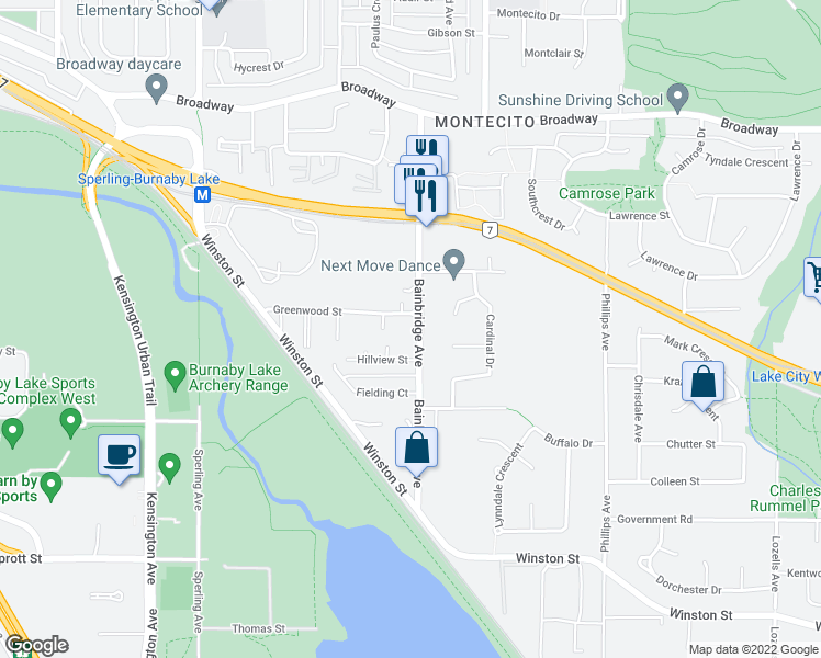 map of restaurants, bars, coffee shops, grocery stores, and more near 3149 Bainbridge Avenue in Burnaby