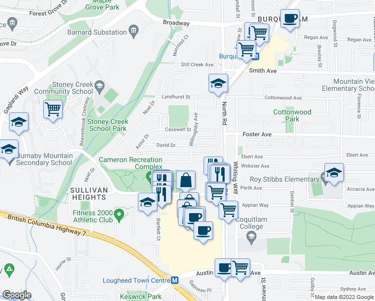 map of restaurants, bars, coffee shops, grocery stores, and more near 3119 Willoughby Avenue in Burnaby
