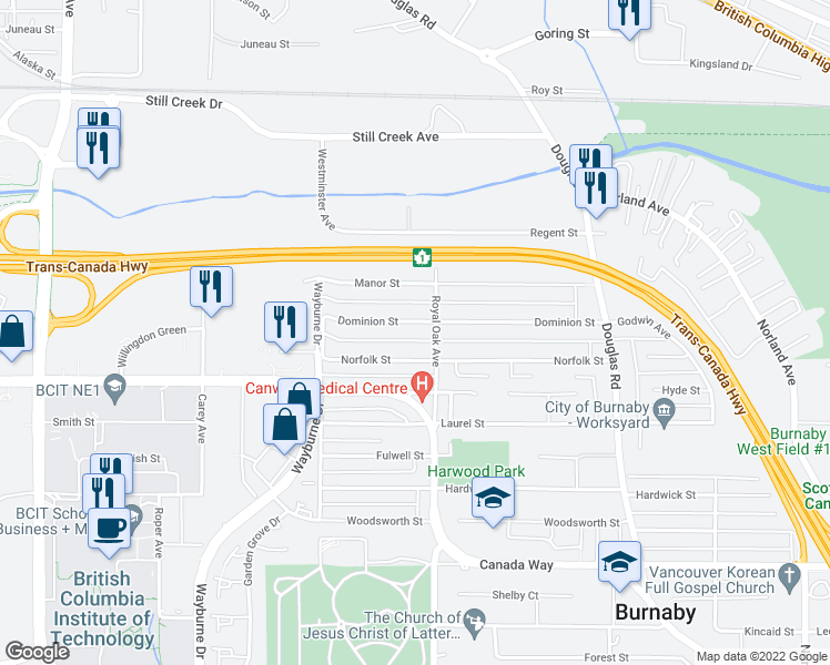 map of restaurants, bars, coffee shops, grocery stores, and more near 5152 Dominion Street in Burnaby