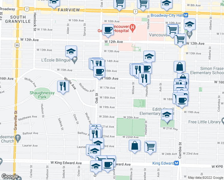 map of restaurants, bars, coffee shops, grocery stores, and more near 916 West 17th Avenue in Vancouver