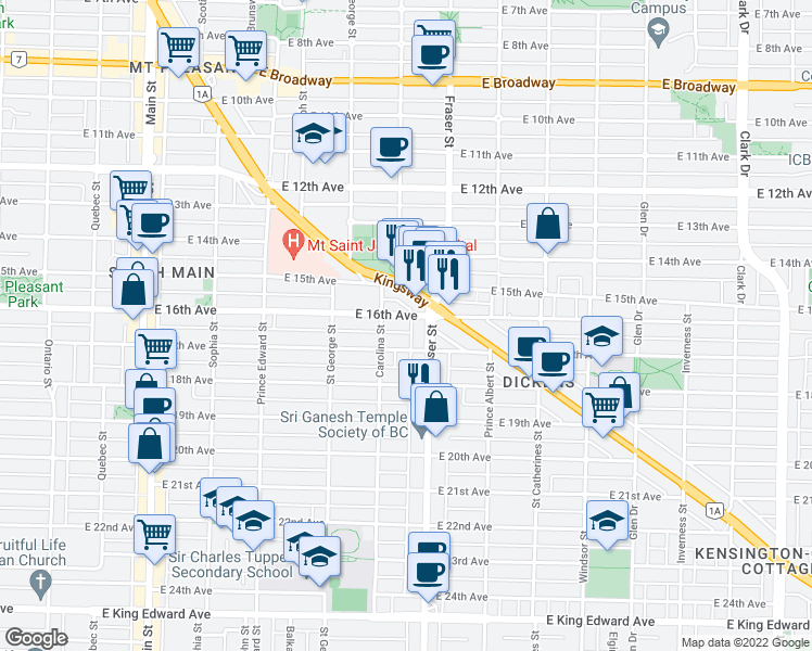 map of restaurants, bars, coffee shops, grocery stores, and more near 688 East 16th Avenue in Vancouver