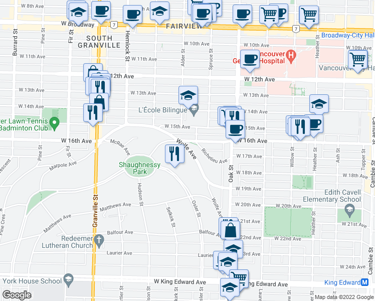 map of restaurants, bars, coffee shops, grocery stores, and more near 1188 Wolfe Avenue in Vancouver
