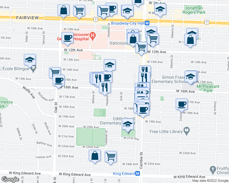 map of restaurants, bars, coffee shops, grocery stores, and more near 668 West 16th Avenue in Vancouver