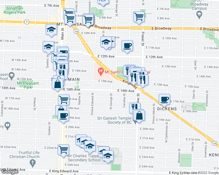 map of restaurants, bars, coffee shops, grocery stores, and more near 495 East 16th Avenue in Vancouver