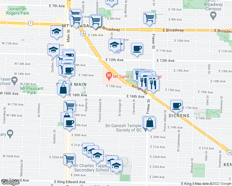 map of restaurants, bars, coffee shops, grocery stores, and more near 481 East 16th Avenue in Vancouver