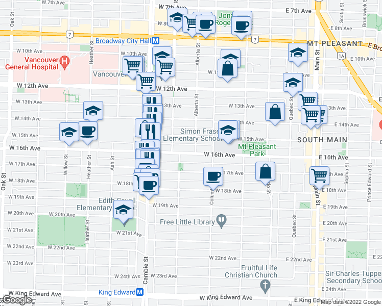 map of restaurants, bars, coffee shops, grocery stores, and more near 305 West 16th Avenue in Vancouver