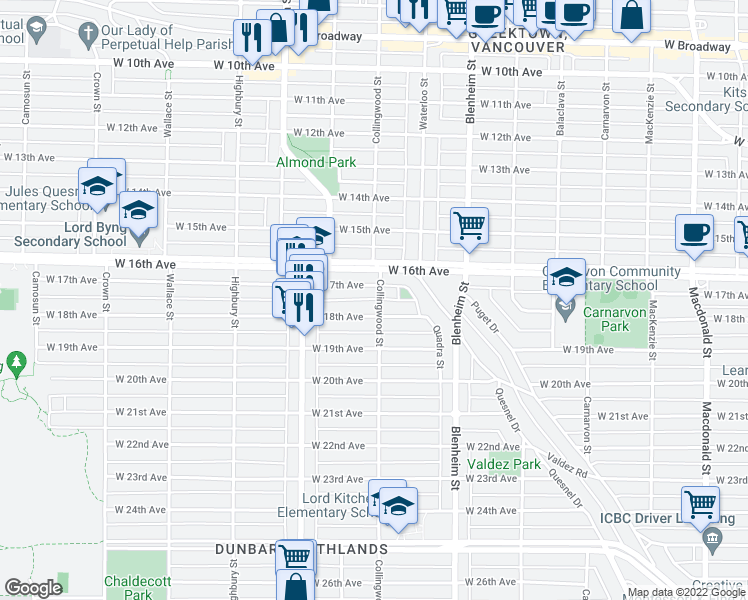 map of restaurants, bars, coffee shops, grocery stores, and more near 3339 Collingwood Street in Vancouver