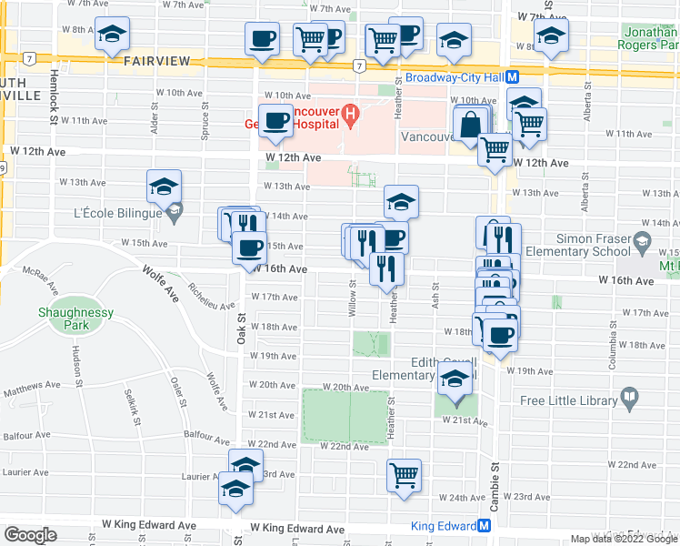 map of restaurants, bars, coffee shops, grocery stores, and more near 868 West 16th Avenue in Vancouver