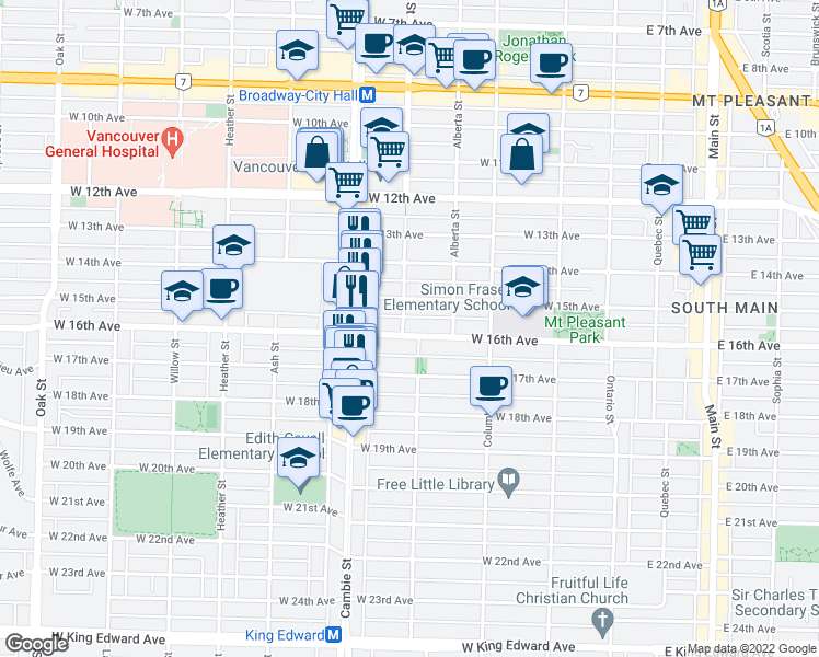 map of restaurants, bars, coffee shops, grocery stores, and more near 3180 Yukon Street in Vancouver