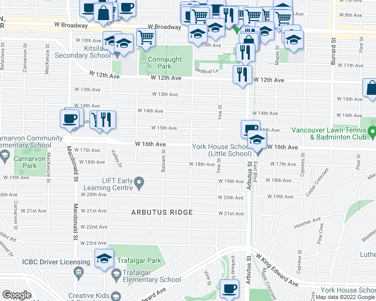 map of restaurants, bars, coffee shops, grocery stores, and more near 3231 Vine Street in Vancouver