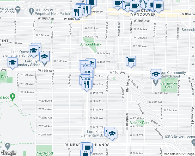 map of restaurants, bars, coffee shops, grocery stores, and more near 3556 West 17th Avenue in Vancouver