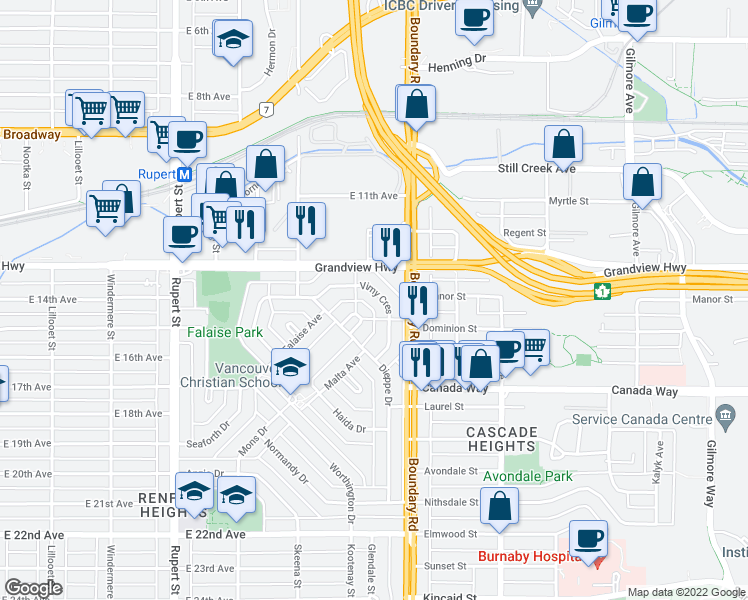 map of restaurants, bars, coffee shops, grocery stores, and more near 3650 Vimy Crescent in Vancouver
