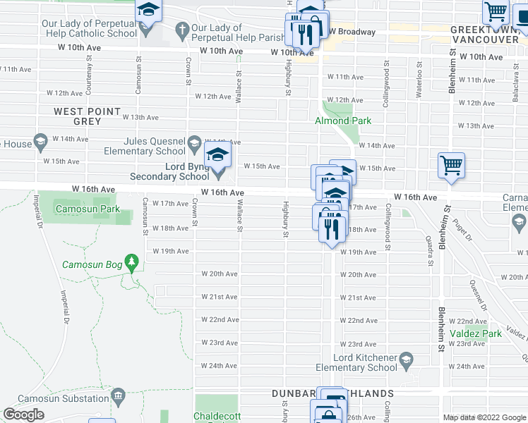map of restaurants, bars, coffee shops, grocery stores, and more near 3848 West 17th Avenue in Vancouver