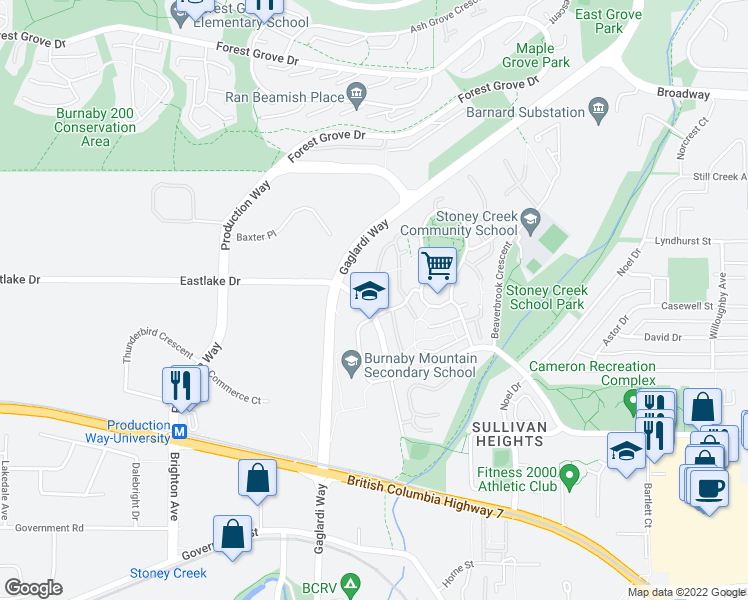 map of restaurants, bars, coffee shops, grocery stores, and more near 2969 Mira Place in Burnaby