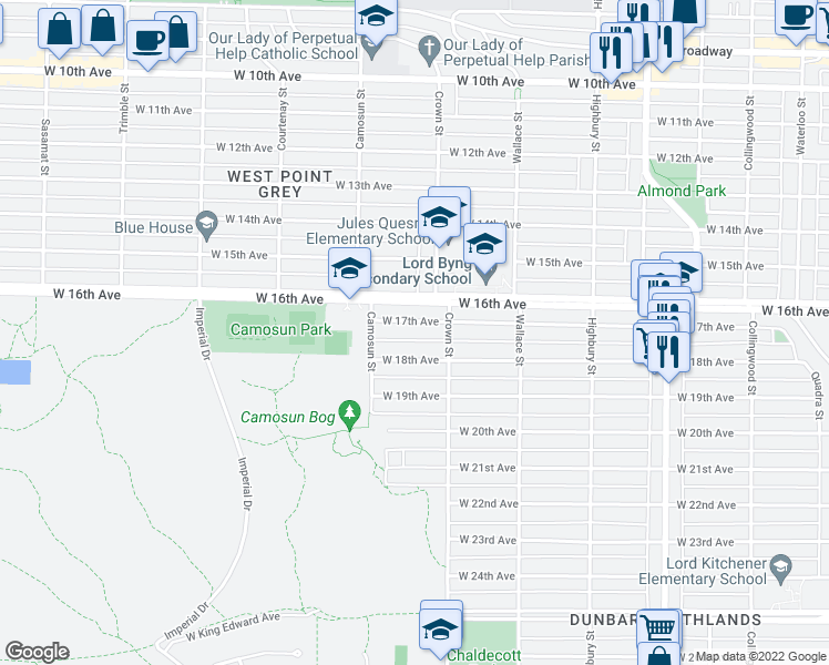 map of restaurants, bars, coffee shops, grocery stores, and more near 4040 West 17th Avenue in Vancouver