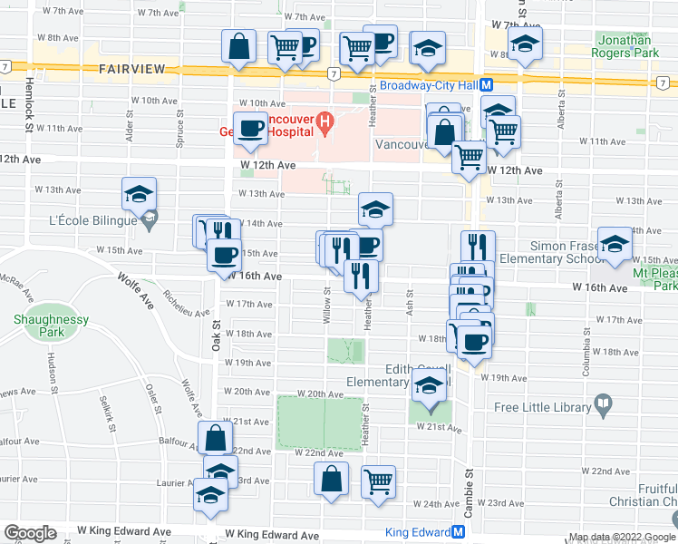 map of restaurants, bars, coffee shops, grocery stores, and more near 789 West 16th Avenue in Vancouver