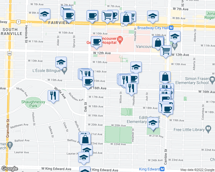 map of restaurants, bars, coffee shops, grocery stores, and more near 3168 Laurel Street in Vancouver