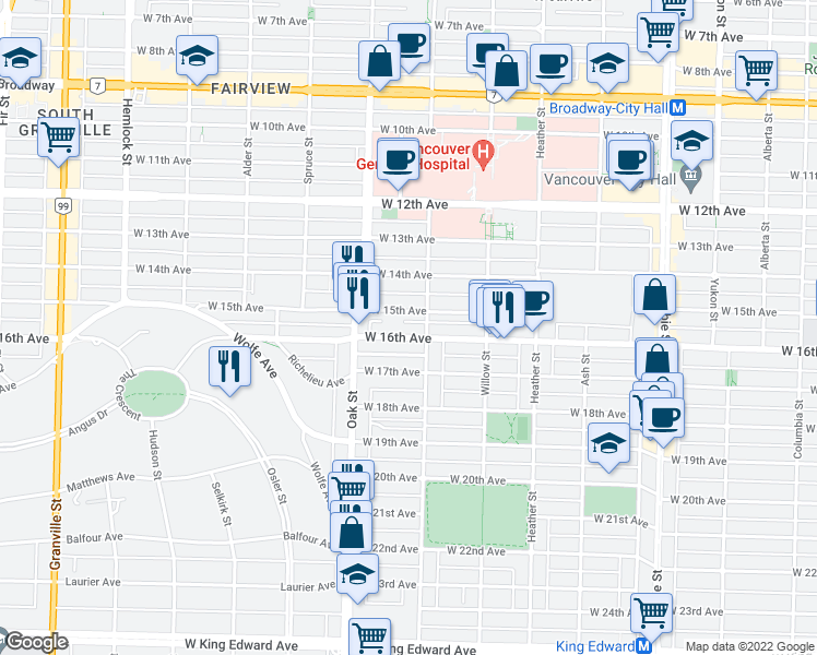 map of restaurants, bars, coffee shops, grocery stores, and more near 929 West 16th Avenue in Vancouver