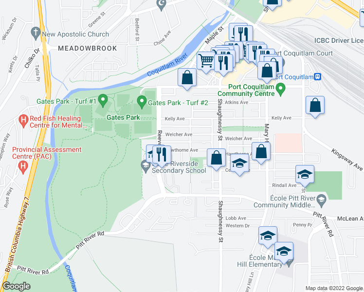 map of restaurants, bars, coffee shops, grocery stores, and more near 2401 Hawthorne Avenue in Port Coquitlam
