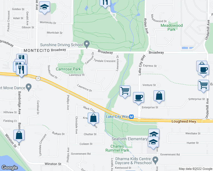 map of restaurants, bars, coffee shops, grocery stores, and more near 7623 Lawrence Drive in Burnaby