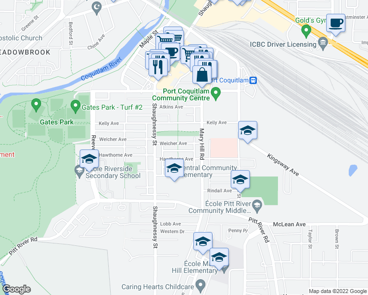 map of restaurants, bars, coffee shops, grocery stores, and more near 2232 Welcher Avenue in Port Coquitlam