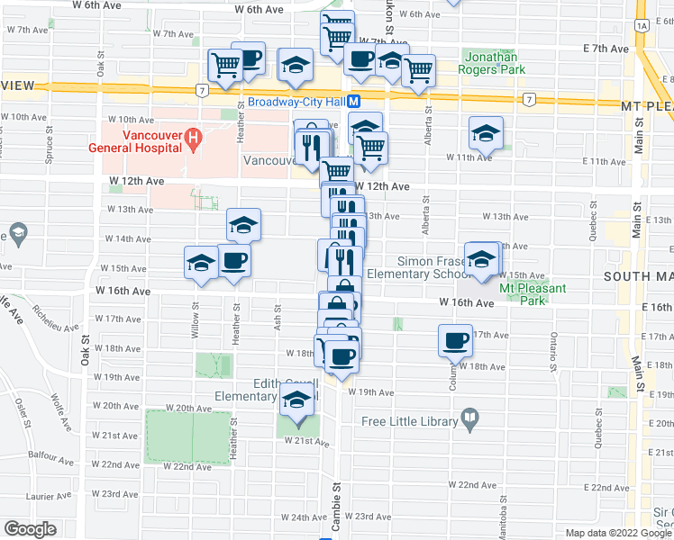 map of restaurants, bars, coffee shops, grocery stores, and more near 3133 Cambie Street in Vancouver