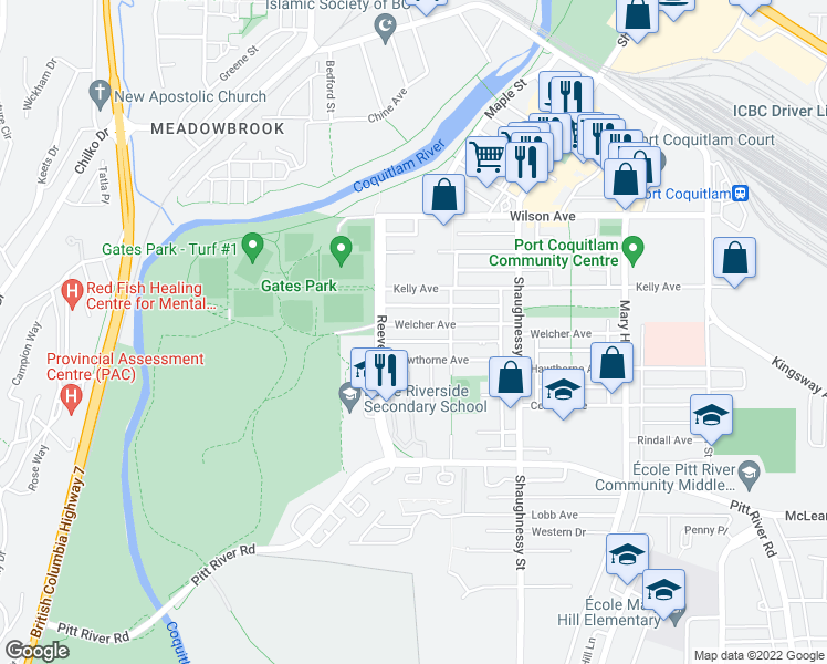 map of restaurants, bars, coffee shops, grocery stores, and more near 2478 Welcher Avenue in Port Coquitlam