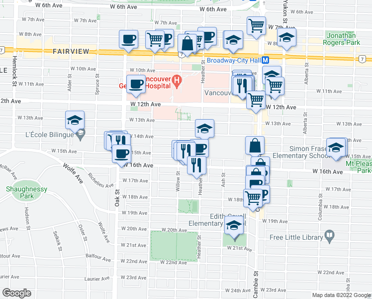 map of restaurants, bars, coffee shops, grocery stores, and more near 755 West 15th Avenue in Vancouver