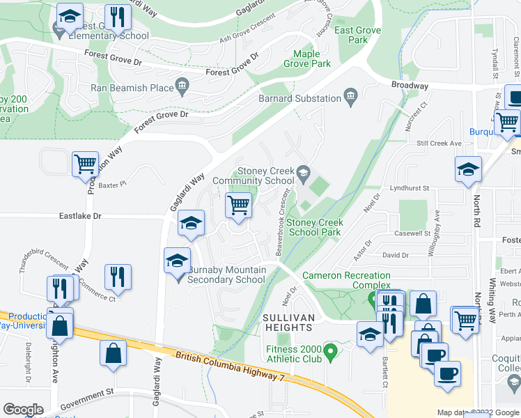 map of restaurants, bars, coffee shops, grocery stores, and more near 2933 Argo Place in Burnaby