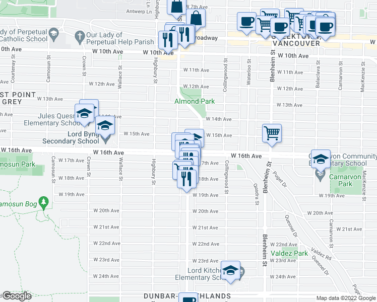map of restaurants, bars, coffee shops, grocery stores, and more near 3639 West 16th Avenue in Vancouver