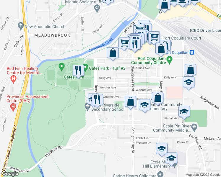 map of restaurants, bars, coffee shops, grocery stores, and more near 2432 Welcher Avenue in Port Coquitlam