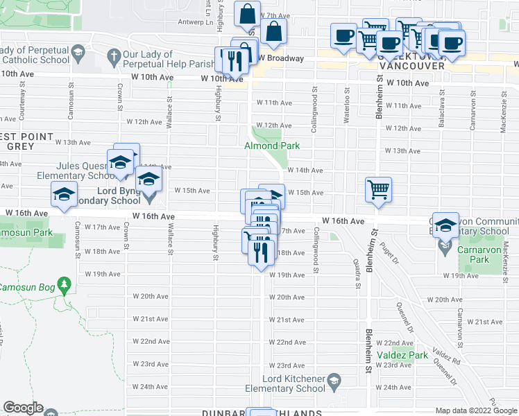 map of restaurants, bars, coffee shops, grocery stores, and more near 3663 West 16th Avenue in Vancouver