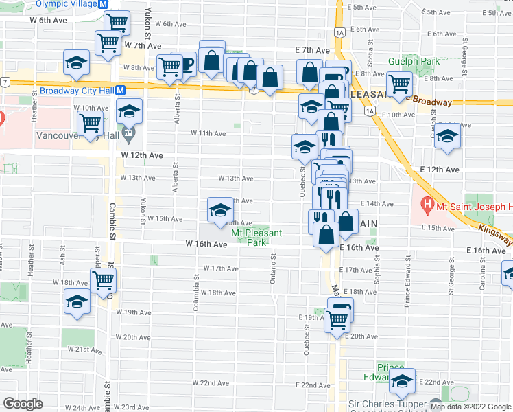 map of restaurants, bars, coffee shops, grocery stores, and more near 36 West 14th Avenue in Vancouver