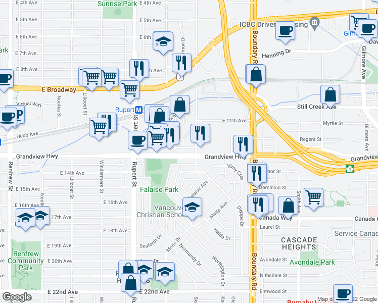 map of restaurants, bars, coffee shops, grocery stores, and more near 3481 Grandview Highway in Vancouver