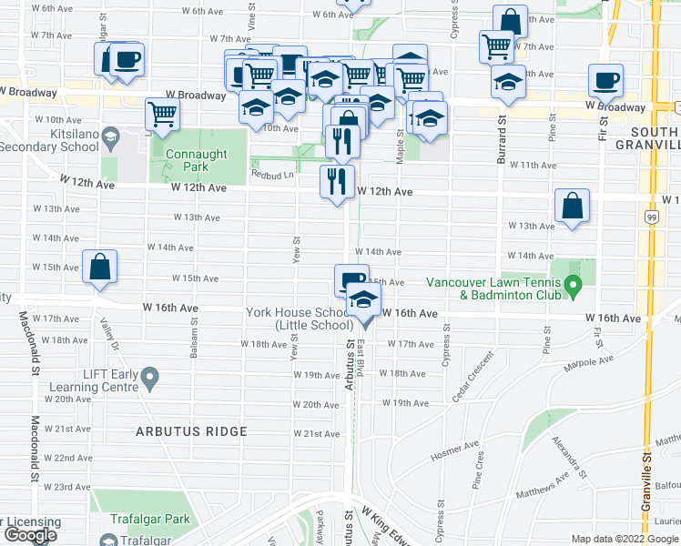 map of restaurants, bars, coffee shops, grocery stores, and more near 3075 Arbutus Street in Vancouver